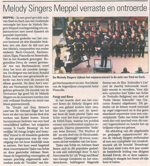 Meppeler Courant over najhaarsconcert